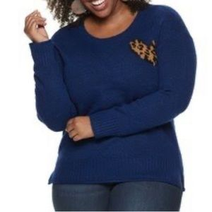 Evri metallic blue with leopard heart sweater!